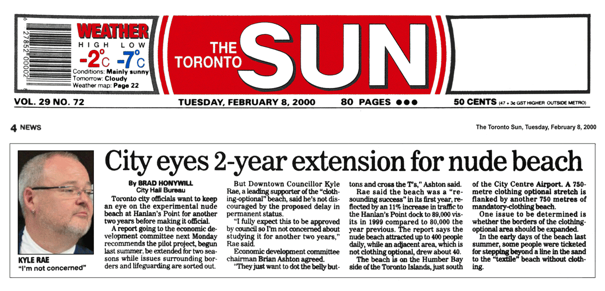 Toronto Sun 2000-02-08 - City Staff favour extending Hanlan's Point CO-zone